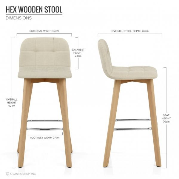 Hex fabric tabouret de bar assise 70cm en bois et for Taburetes barra cocina ikea