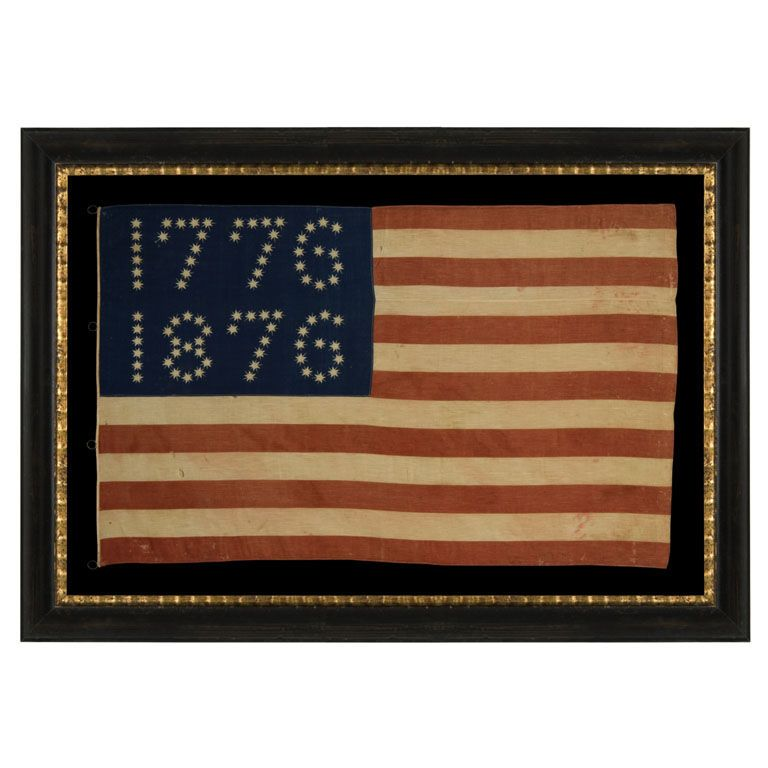Centennial Celebration Flag W Stars That Spell 1776 1876 American Flag Flag America Decor