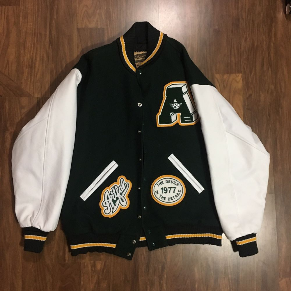 e9945b15c Vintage Artful Dodger Letterman Jacket Green/White/Yellow Size XL (1 ...