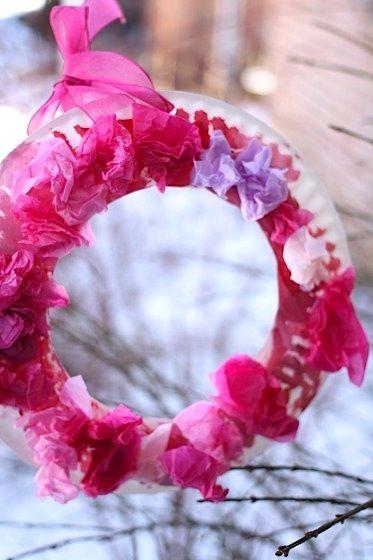 Happy Hooligans tissue paper wreath Valentine's Day craft for kids