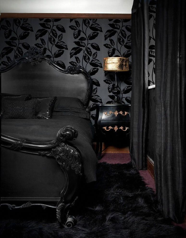 Create A Gorgeous Gothic Bedroom Fabrics Bed And Other Furniture And Keep It Gothic Gothic Roo With Images Black Wallpaper Bedroom Dark Home Decor Gothic Decor Bedroom