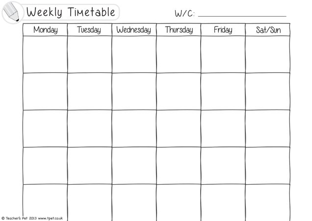 TeacherS Pet  Weekly Timetable Black And White  Free