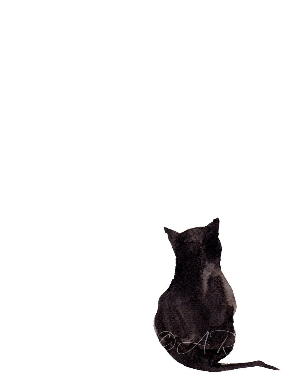 """India Ink Abstract Minimalist Painting Archival Art Print; Cat Painting; Black Cat; """"Ink Wash Cat""""; also available Giclee 10 x 13 inch Print"""