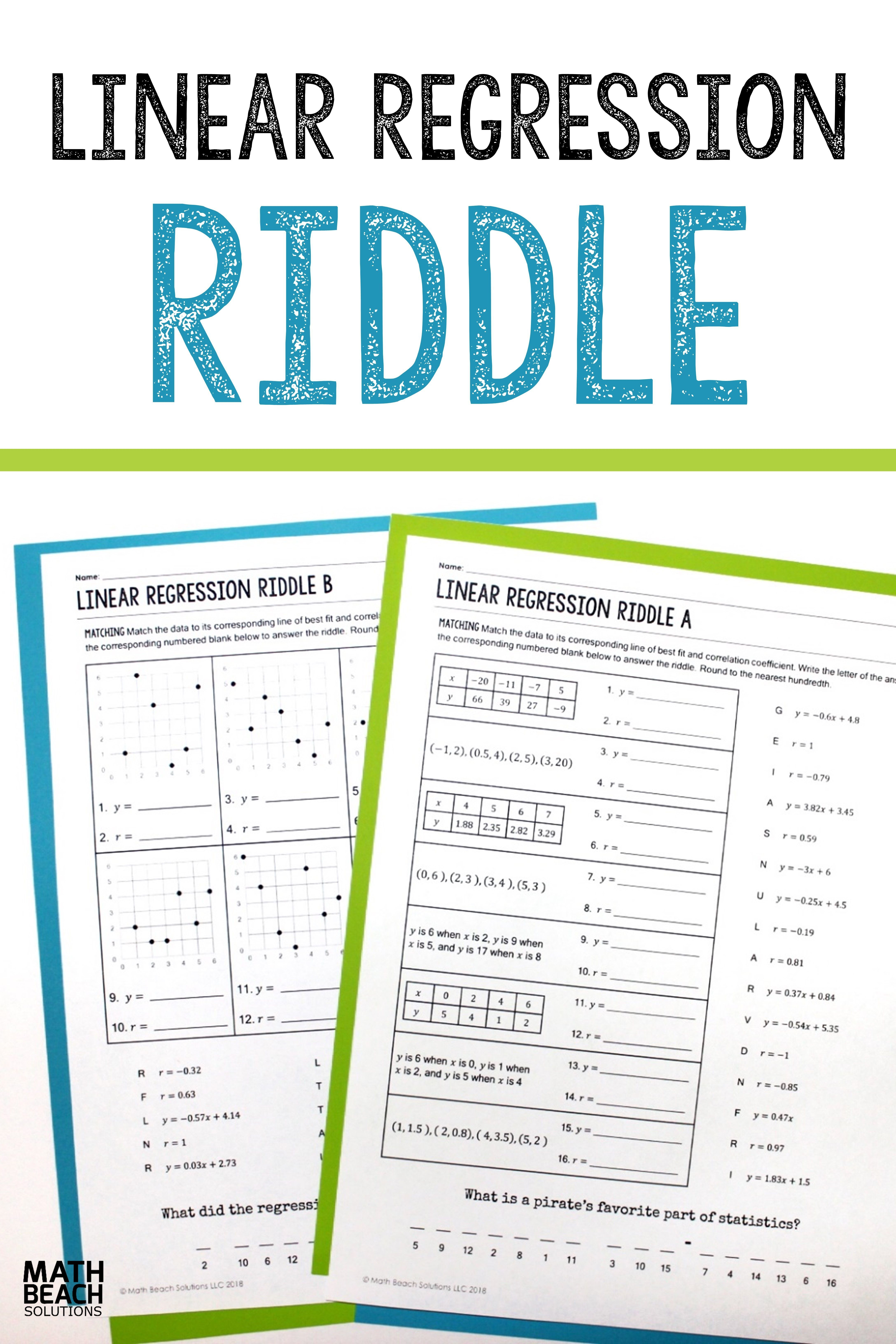 The Linear Regression Riddle Activity S Self Checking Independent Or Partner Practice Supports Students Linear Regression Algebra Worksheets Writing Equations