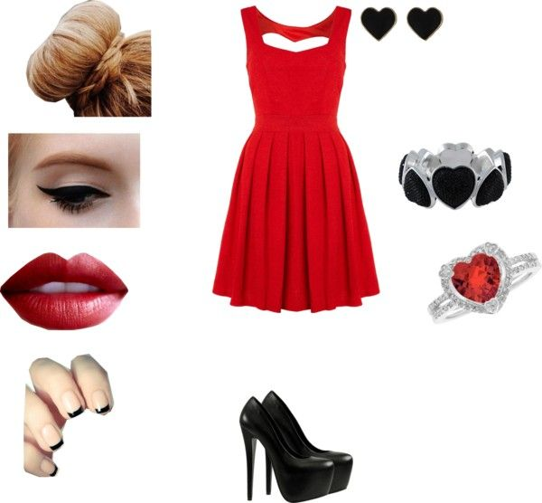 """red dress"" by elyciamedina ❤ liked on Polyvore"