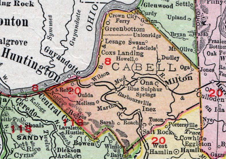 Cabell County West Virginia 1911 Map Huntington Milton