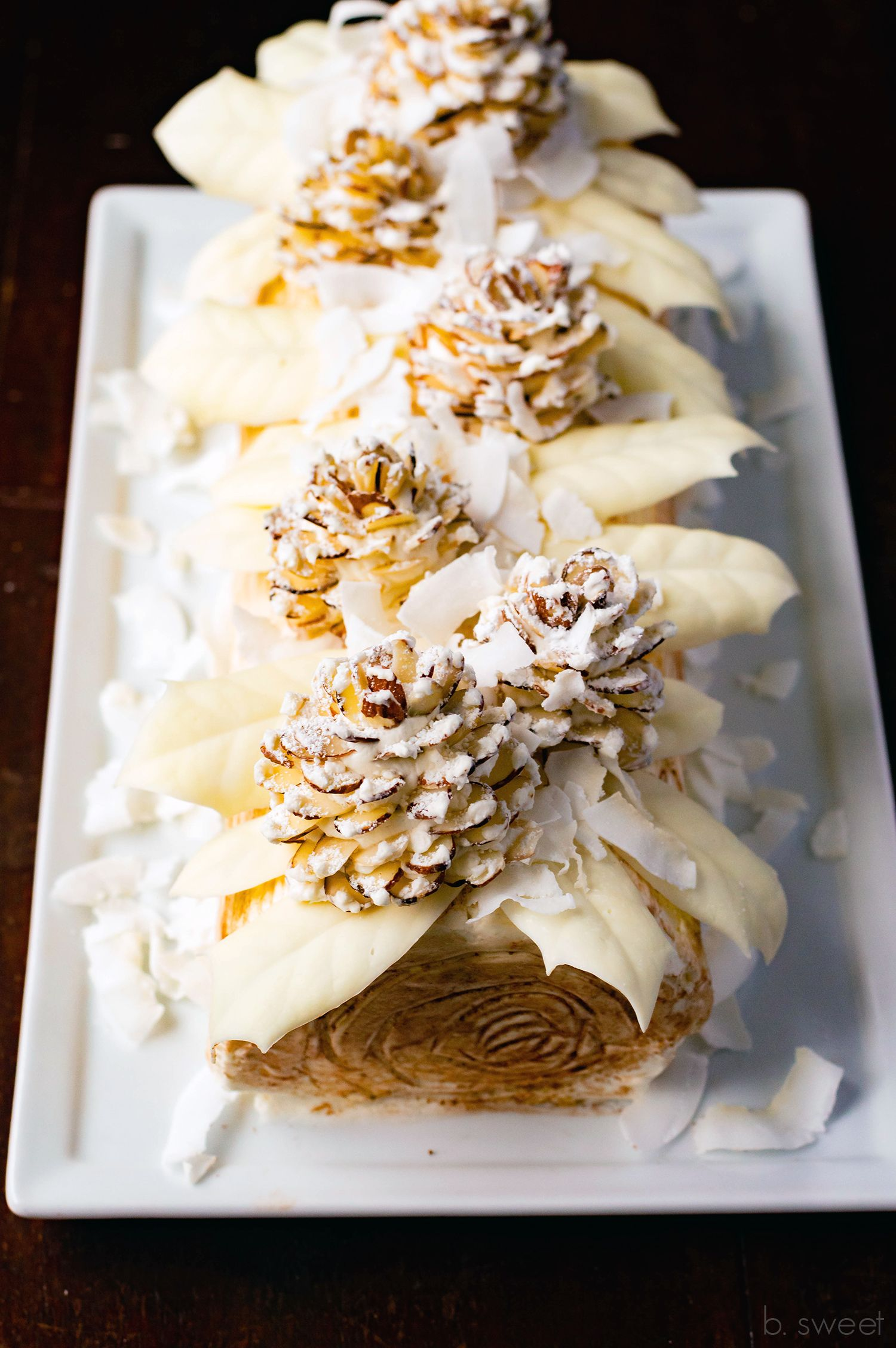 Winter White Yule Log Coconut Almond and White Chocolate