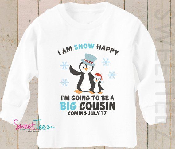 Big Cousin Shirt Snow Happy Big Brother Long Sleeve Shirt Winter Penguin Personalized Due Date Shirt Sibling Announcement Shirt Long Sleeve Shirts Shirts Sibling Announcement