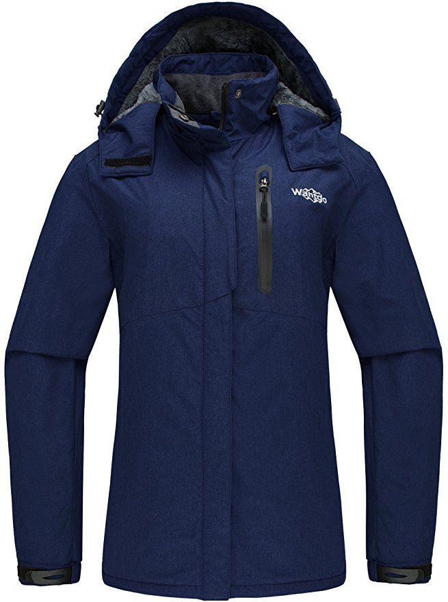 Wantdo Women S Detachable Hood Waterproof Fleece Lined Parka Windproof Ski Jacket Dark Blue Us Small Ski Jacket Jackets Parka