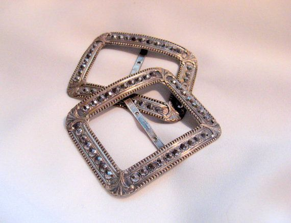 Holiday Sale Antique French Cut Steel Belt Buckles Marcasite Jewelry Supply Repurpose Bracelet