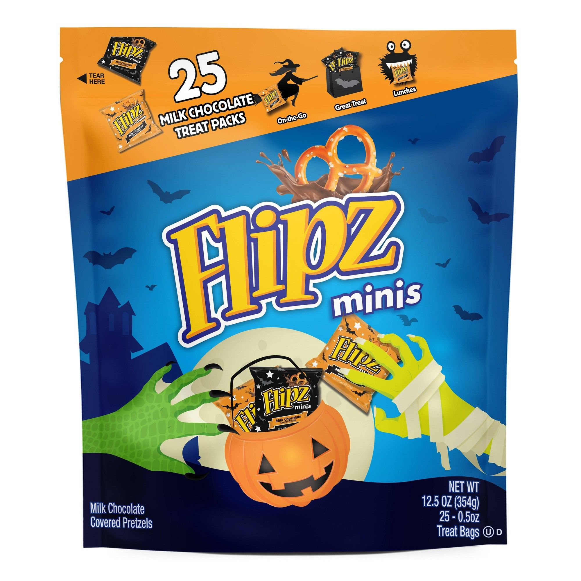 Flipz Minis Chocolate Covered Pretzels Treat Bags 25ct