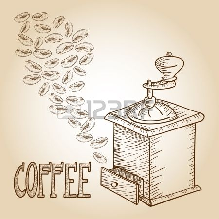 Vintage coffee beans and grinder.