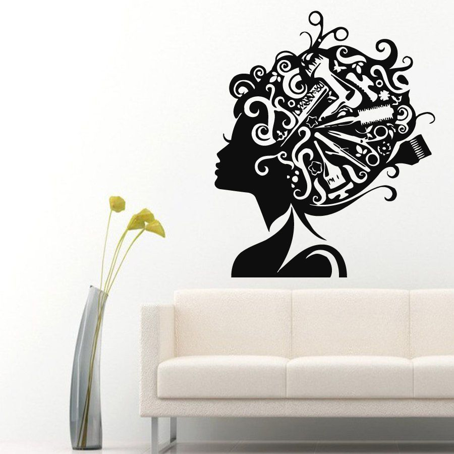 wall decals vinyl sticker decal girl comb scissors hair beauty salon decor kk294 beauty salon. Black Bedroom Furniture Sets. Home Design Ideas