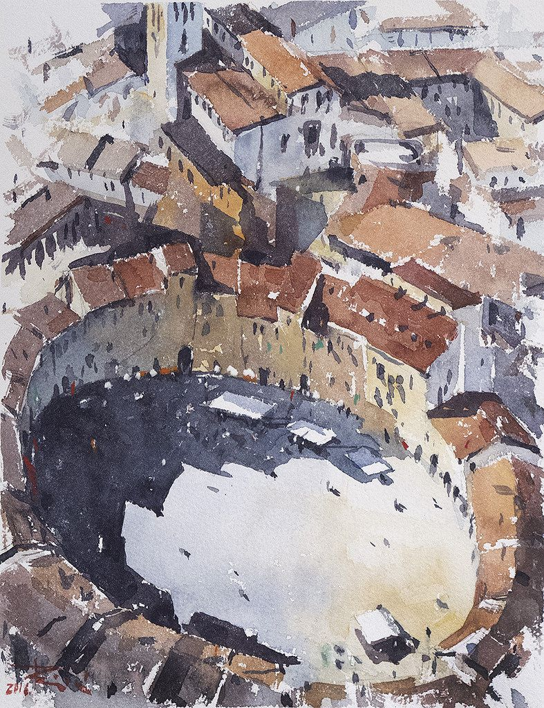 Lucca From Above In 2020 Watercolor Architecture City Painting