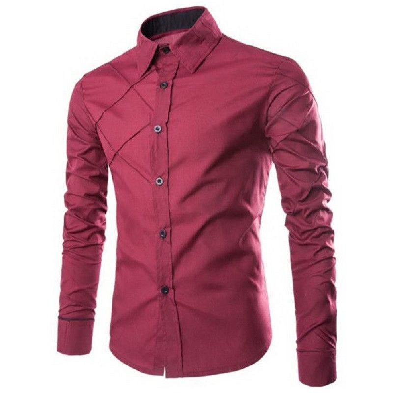 Buy wholesale Trendy Checked Sutures Design Shirt Collar Long Sleeve  Slimming Men's Polyester Shirt XL WINE RED from china Long Sleeves  wholesaler.