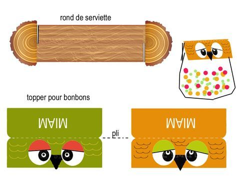 """THEME DE """" LA FORET ENCHANTEE"""" et ses petits habitants - 1 et 2 et 3 DOUDOUS * PATRONS* PATTERNS * GABARITS FETE A THEMES POUR ENFANTS. Top napkin ring. Bottom Candy Toppers. http://1et2et3doudous.canalblog.com/archives/2012/09/12/25090098.html"""