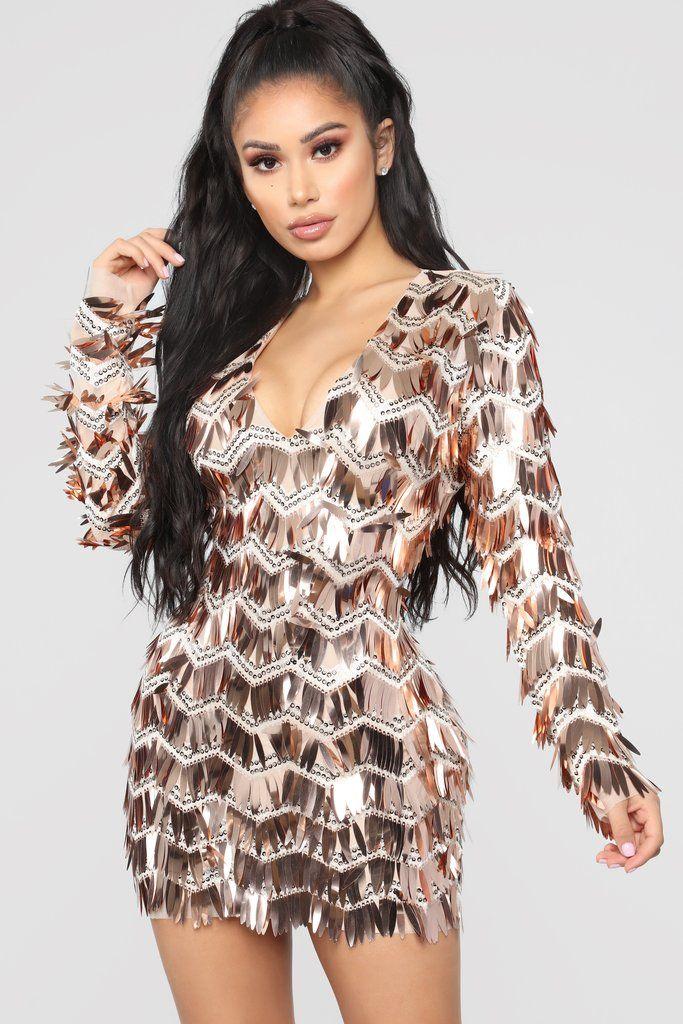 Glammed Up Sequin Dress Rose Gold Fashion Nova