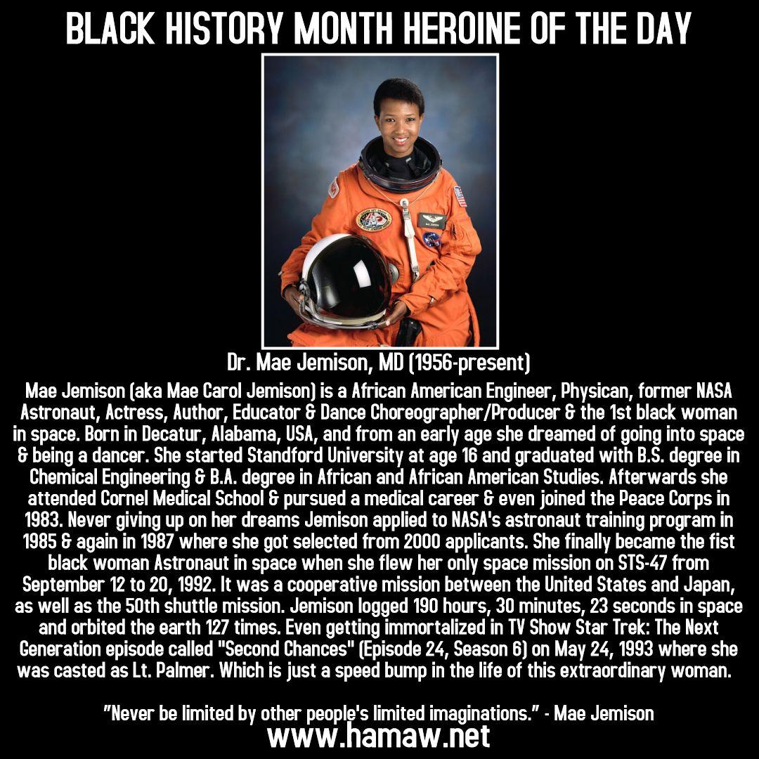 #blackhistorymonthherooftheday #blackhistorymonthheroineoftheday #blackhistorymonth #blackhistory #blackandproud  #drmaejemison #astronaut #blackastronaut #nasa #100yearstarship #usa #photooftheday #empowerment #womenempowerment  #africanmartialarts #martialarts #historicalafricanmartialartswellness #hamaw #sflhamaw #hamaa #southflorida #browardcounty  #coralsprings #fortlauderdale #lauderhill #northlauderdale #pompanobeach #tamarac #miami #westpalmbeach