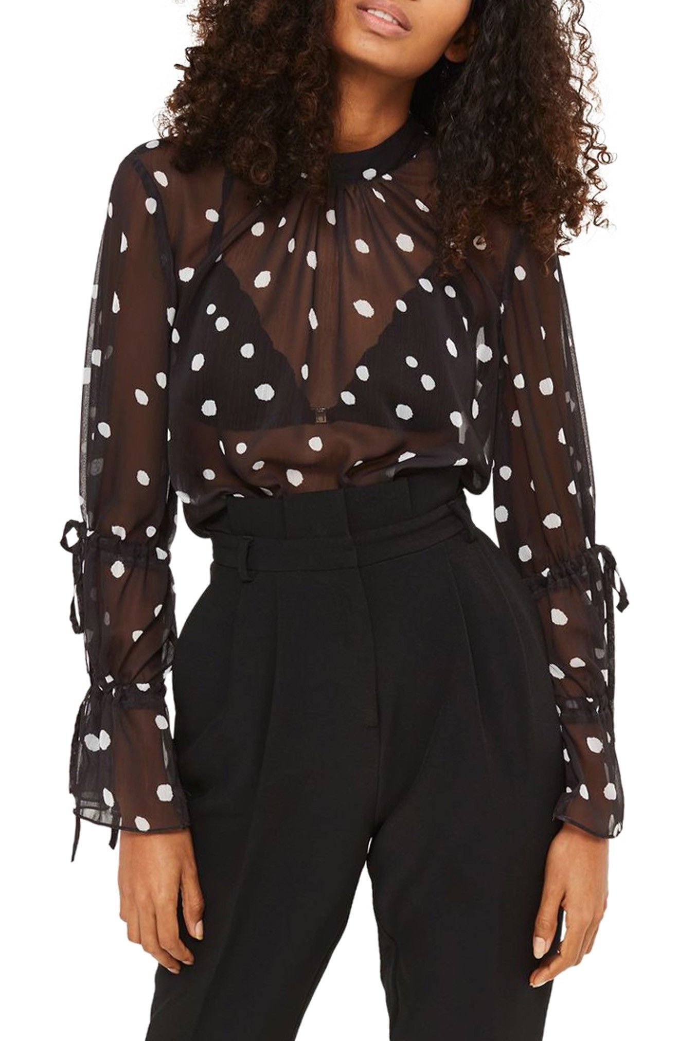 I love the sleeves and polka dots on this sheer top by Topshop that's part of the Nordstrom Anniversary Sale 2017! // http://rstyle.me/n/cqeti8cb5bp