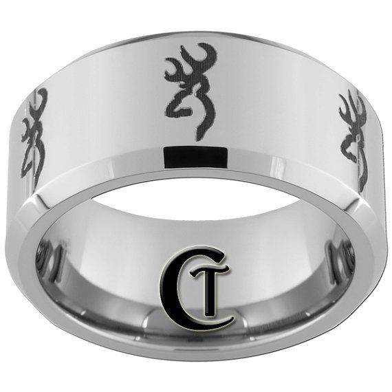 Tungsten Band 10mm Beveled Browning Design Ring By Customtungsten 49 00 Tungsten Band Ring Designs Rings For Men