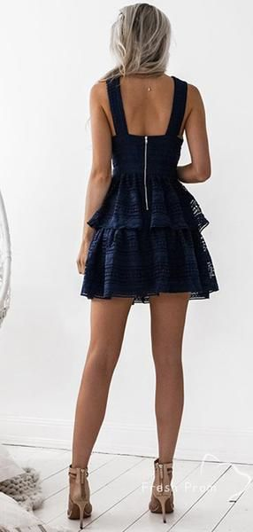 A-Line Cross Neck Sleeveless Navy Blue Lace Affordable Homecoming Dresses,FPBD156