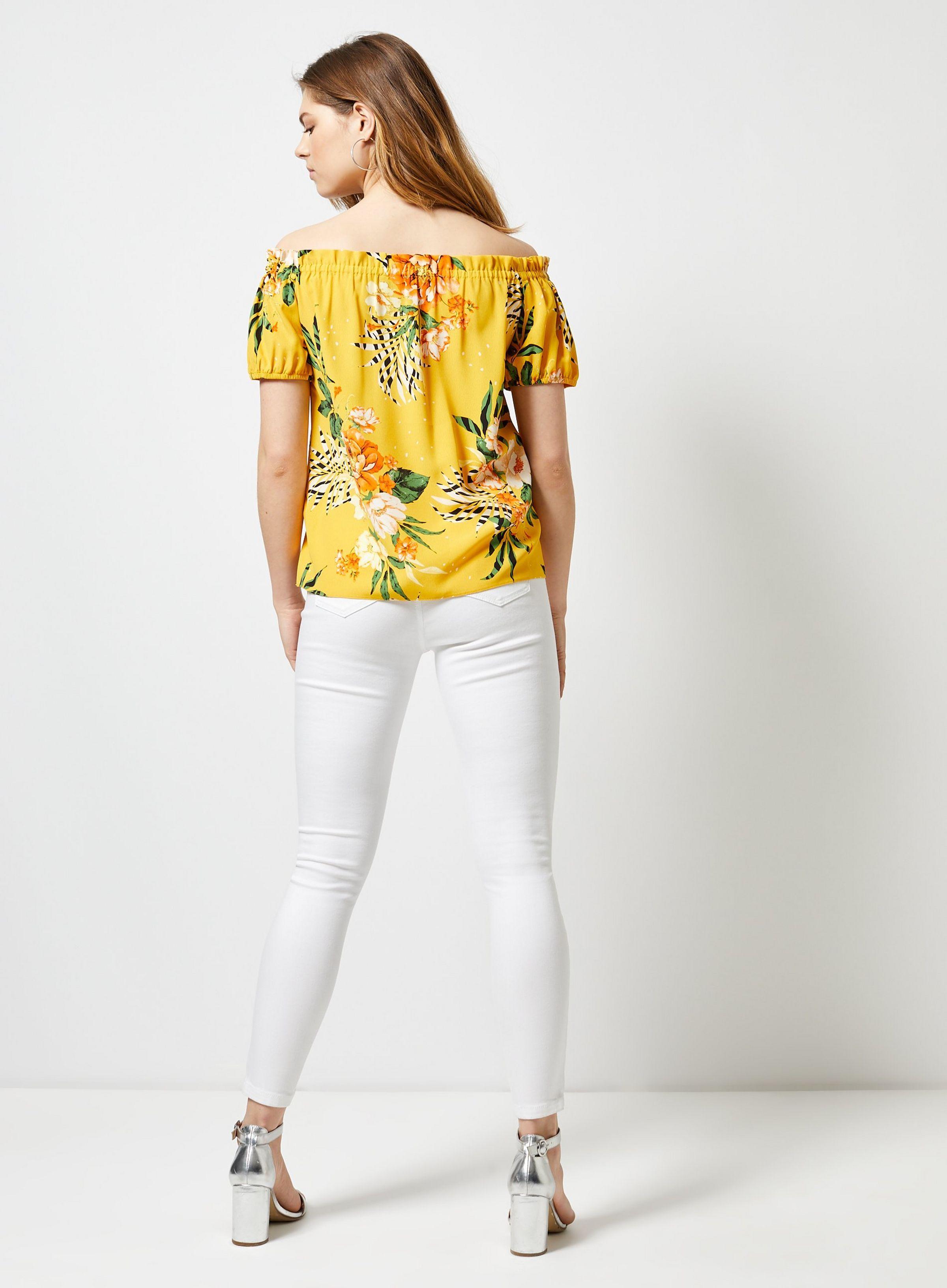 3b44506584f072 Yellow Floral Print Bardot Top in 2019   JRC IN-STORE 2019   Bardot ...