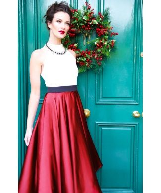 b5600f21d3 Fabulous burgundy midi ball gown dress with white halter neck top  partywear