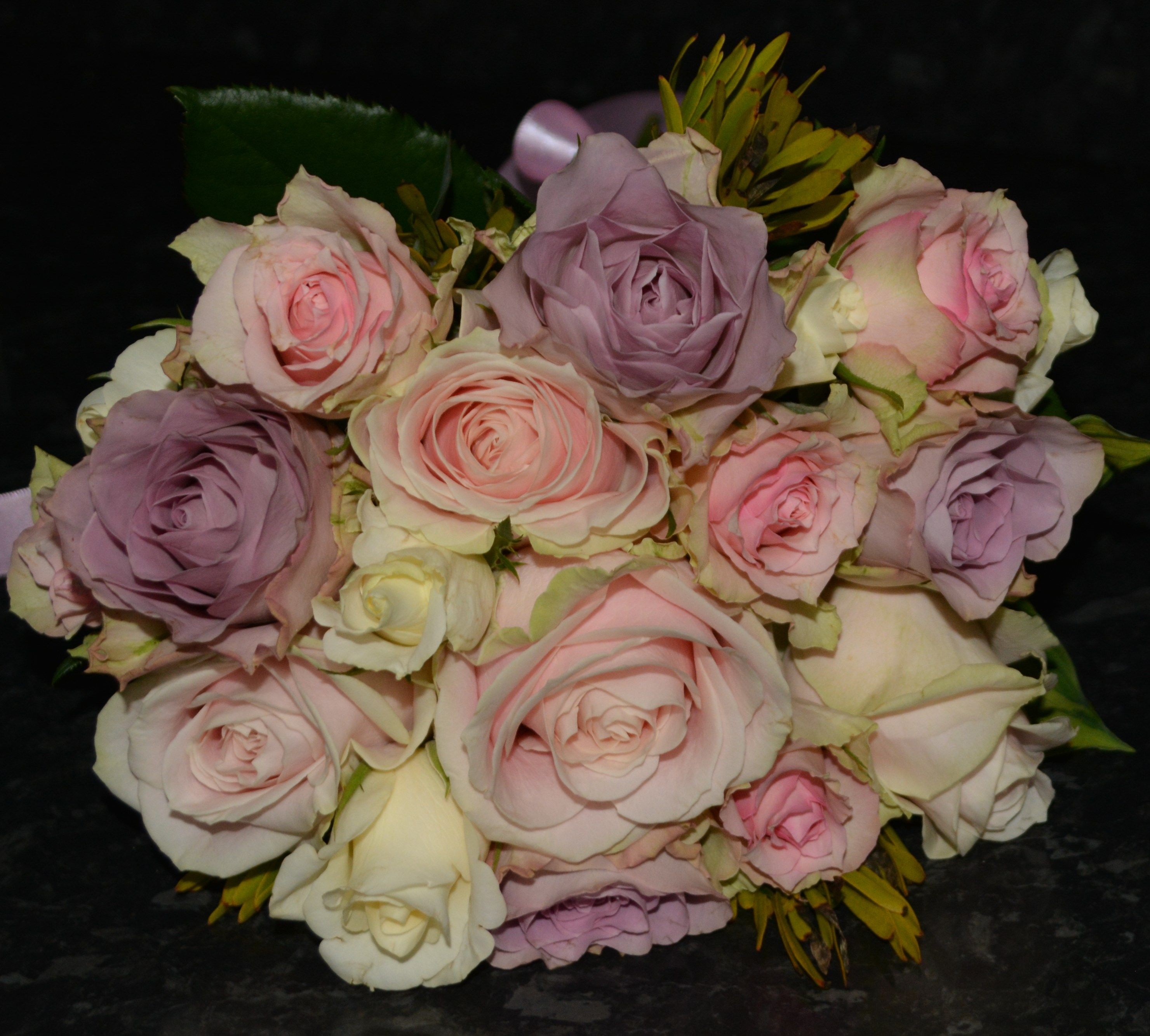 Rose Bouquet Using Memory Lane Lilac Sweet Avalanche Pink And