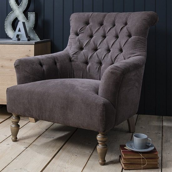Mistral Fabric Arm Chair In Slate Grey With Wooden Legs Will Definitely Make A Style Statement In Your Home Deco Arm Chairs Living Room Fabric Sofa Uk Armchair