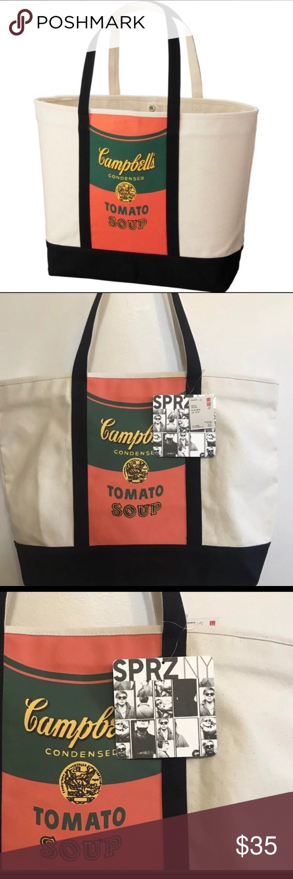 Uniqlo Tote Bag X Sprz Andy Warhol Campbell Soup Art Inspired Fashion Campbell Uniqlo Bags