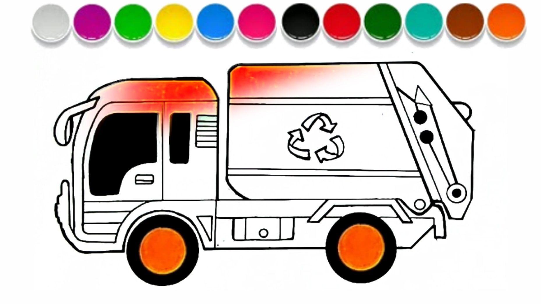 Cara Menggambar Mobil Truk Pembersih Sampah Garbage Truck Mobil Truk Trucks