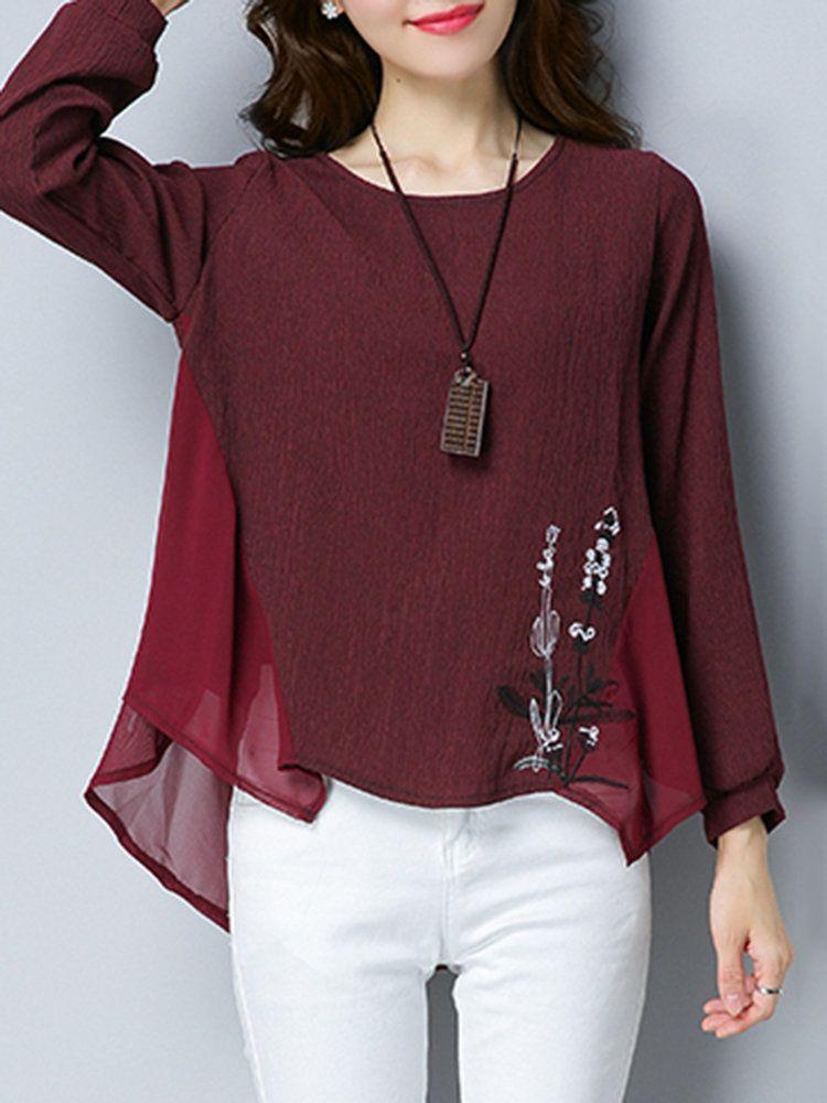 9488ce8f8 Chiffon Women Long Sleeve Loose Embroidery T-Shirts | Street Style ...