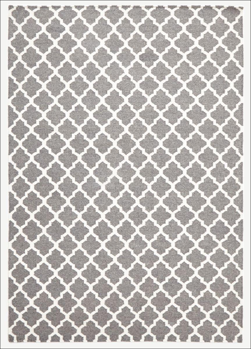 Bazaar Grey Trellis Wool Flatweave Kilim Rug