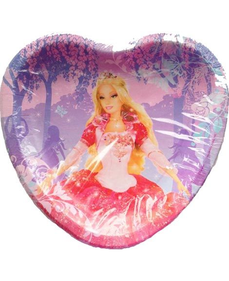 9 x 9 x 1 in Heart Shaped Paper Plates 8 Durable Paper Plates Per Pack  sc 1 st  Pinterest & Barbie 12 Dancing Princess Lunch Plates | Barbie party