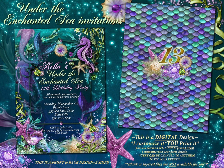 Etsy Product | Mermaid invitations, Mermaid mermaid and Mermaid parties
