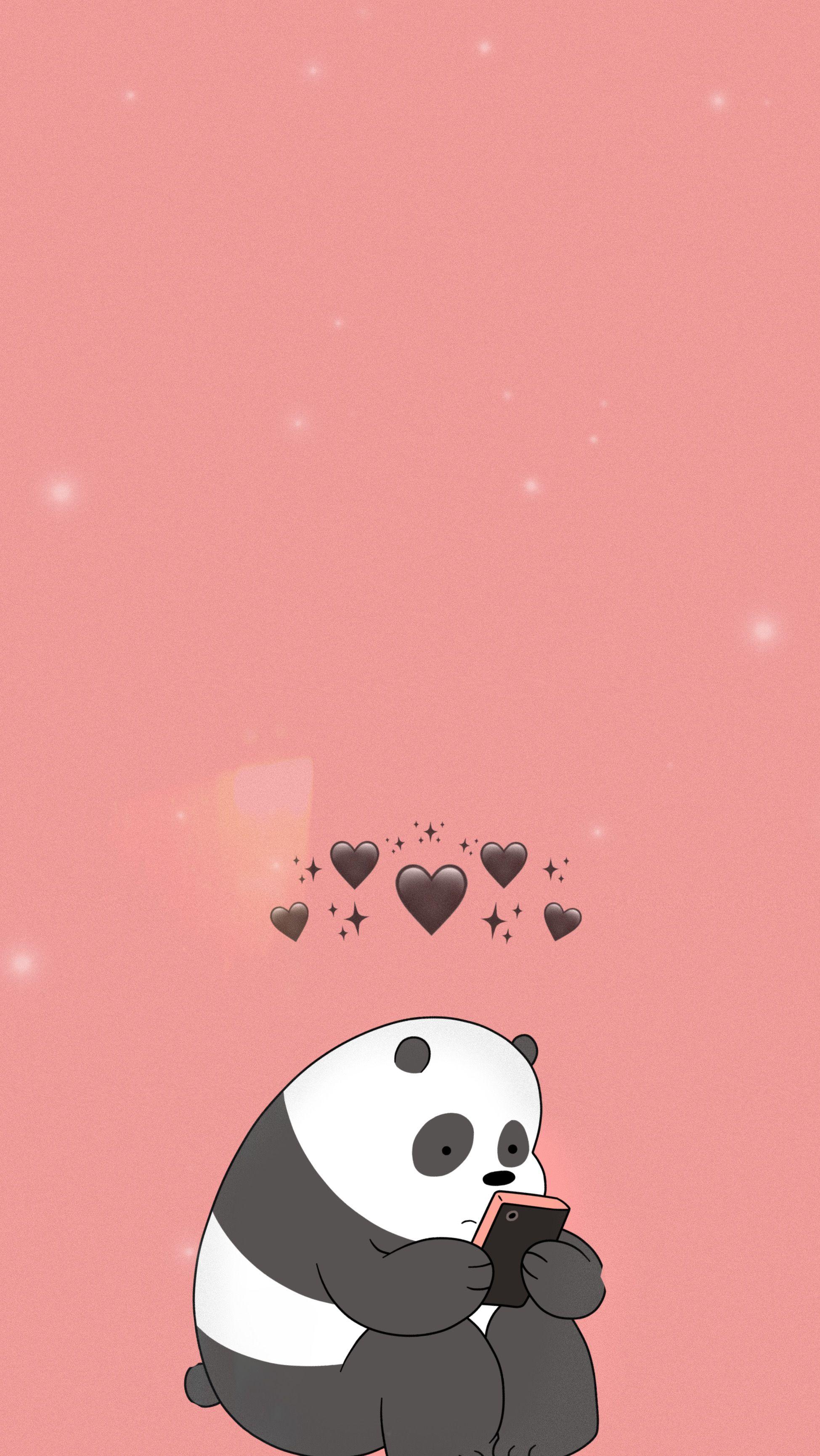 Wallpaper Panda Lucu Pink