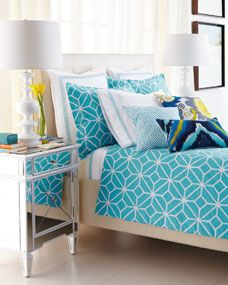 Turquoise and White Trellis Bed Linens