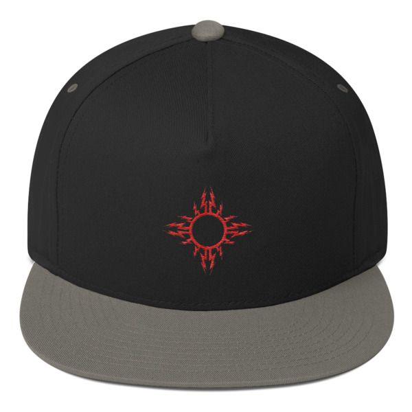 New Mexico Red Lightning Zia Symbol Print Flat Bill Cap I Am New