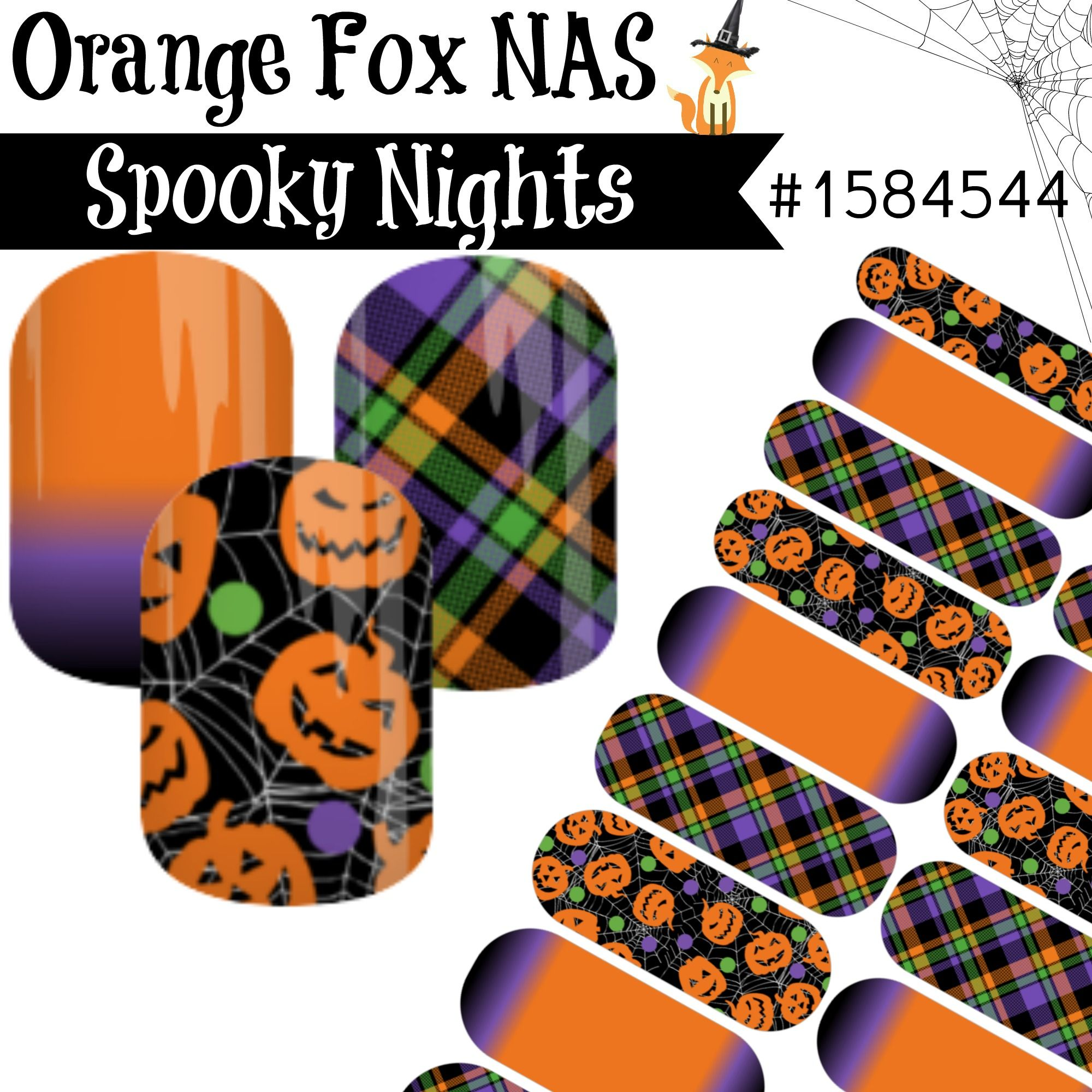 Halloween nail art pumpkins jack o lantern plaid orange black purple ...