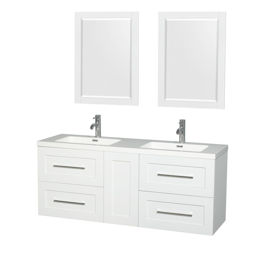 Wyndham Collection Olivia 60 In Glossy White Double Sink Bathroom Vanity With White Acrylic Top Mirror Included Lowes Com Modern Bathroom Vanity Bathroom Vanity White Vanity Bathroom