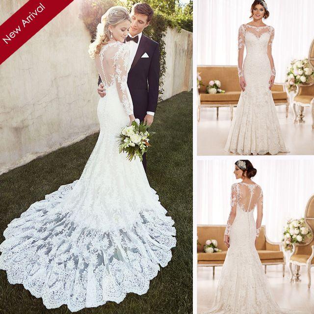 Vestido-De-Noiva-2015-Vintage-Meerjungfrau-Hochzeitskleid-Langarm ...