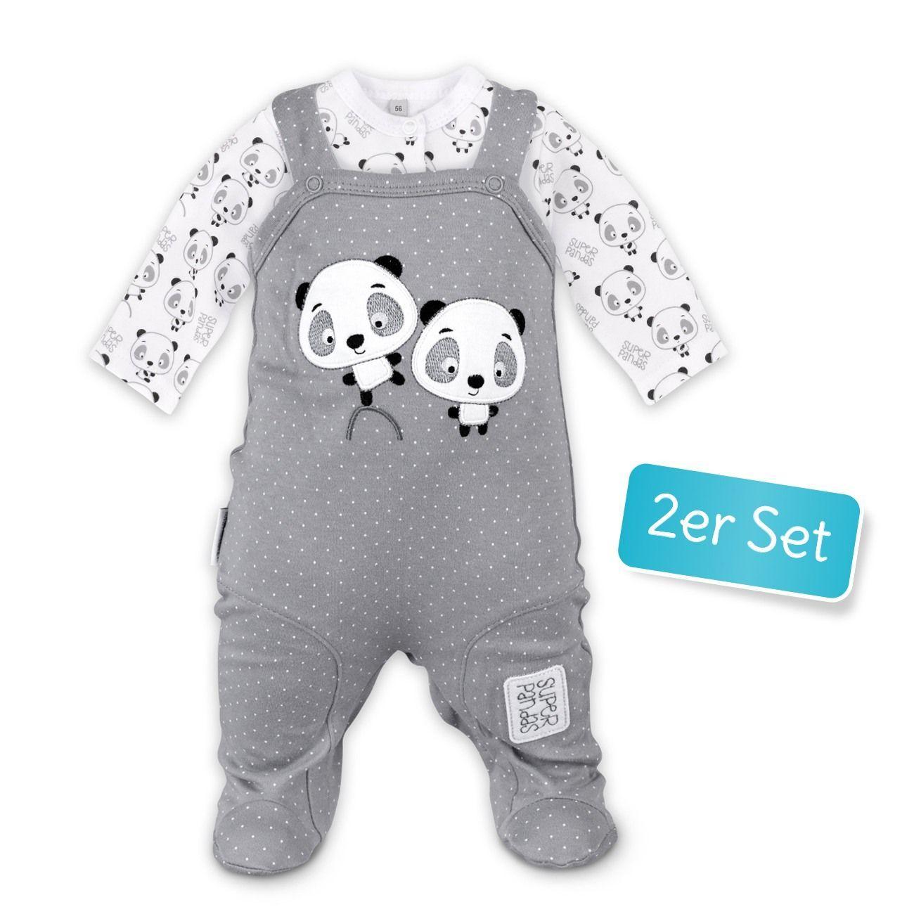 Baby Set Strampler mit Mütze weiß Panda
