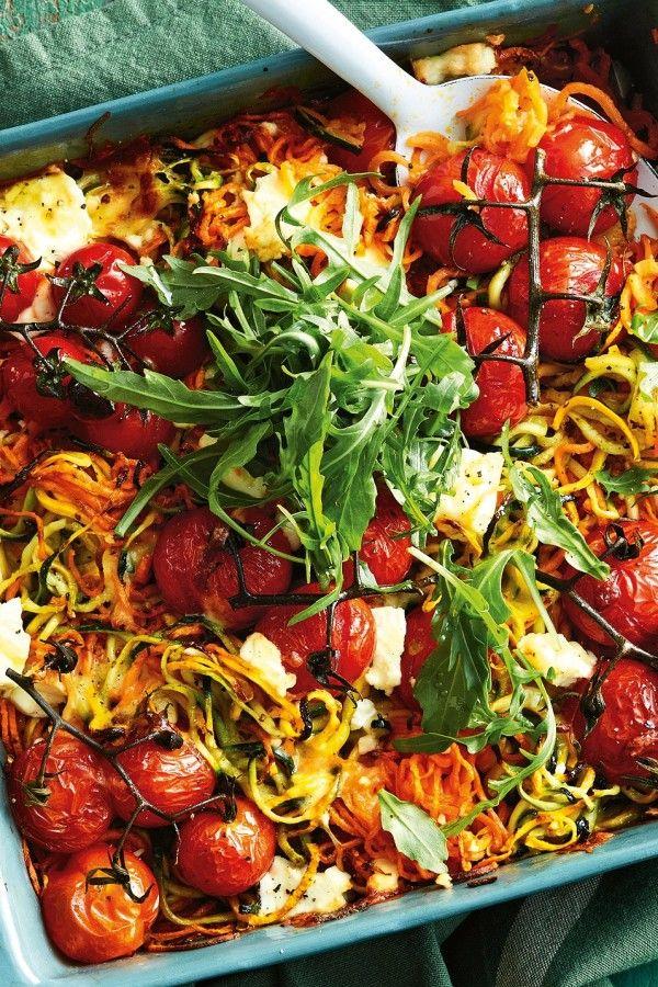 Überbackene Gemüsenudeln mit Feta #apfelrosenrezept