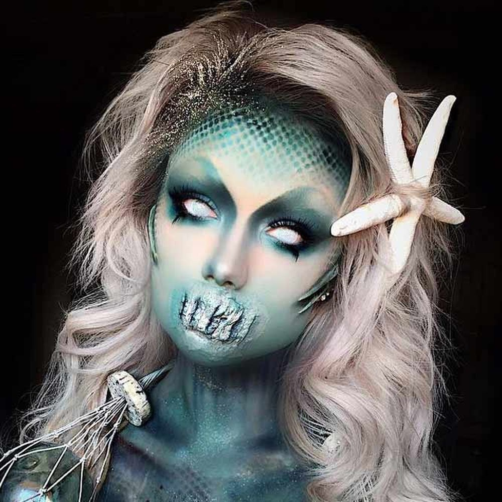 Dive Under The Sea For 15 Frightening And Seductive Mermaids To Inspire Your Scary Mermaid Make Mermaid Makeup Halloween Scary Mermaid Scary Halloween Costumes