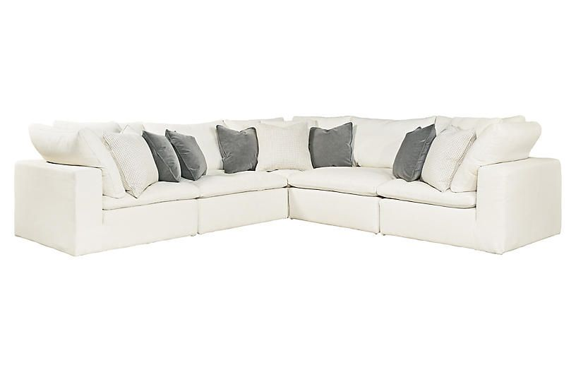 Marvelous One Kings Lane Palmer Sectional White Crypton In 2019 Andrewgaddart Wooden Chair Designs For Living Room Andrewgaddartcom