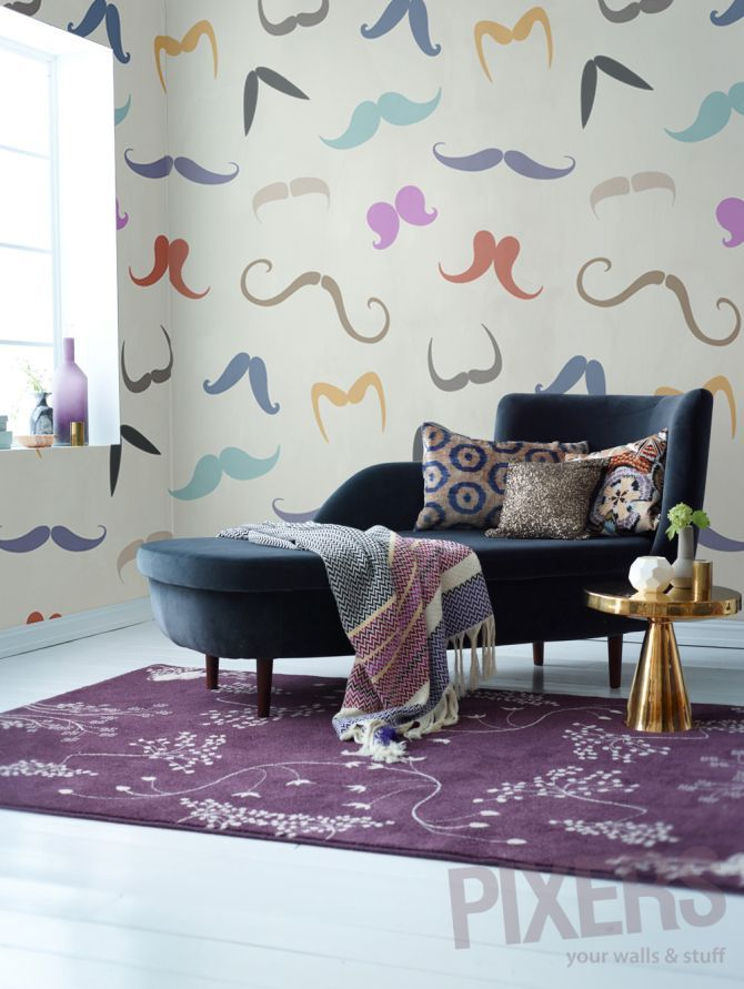 Wall Mural Colored Mustache by PIXERS <3 www.pixersize.com