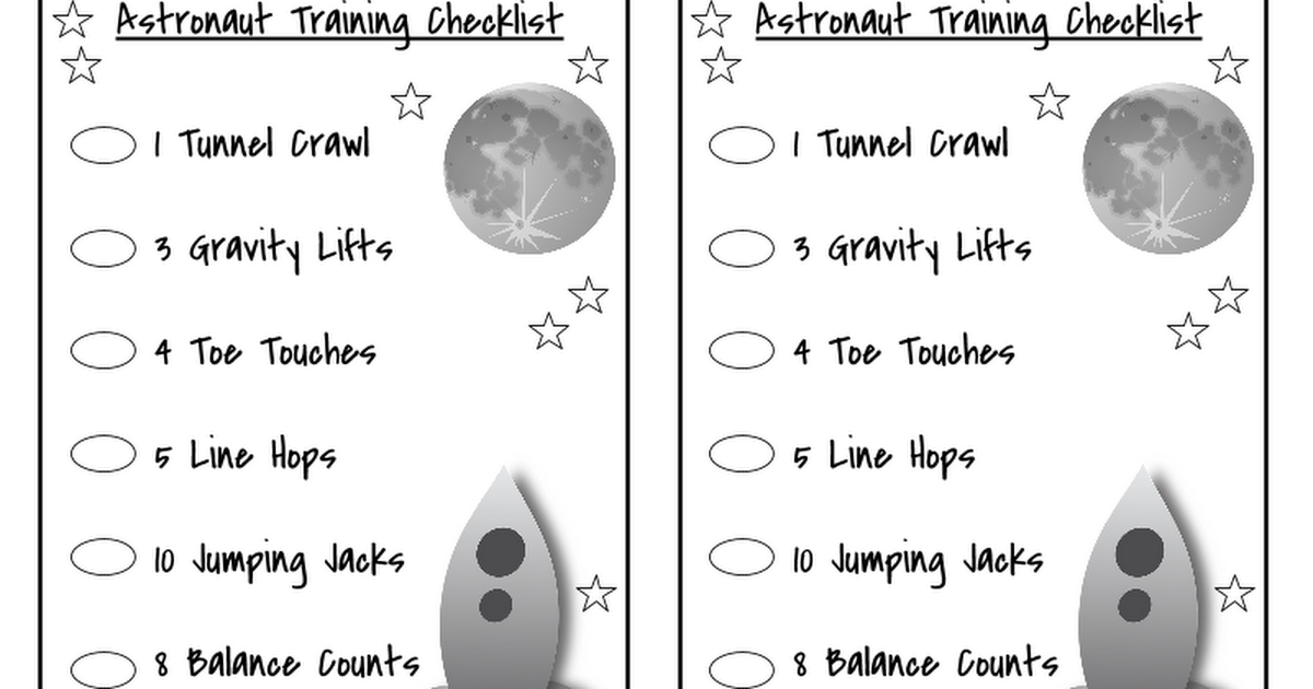 Name Astronaut Training Checklist 1 Tunnel Crawl 3