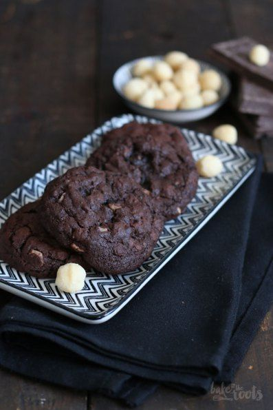 Double Chocolate Macadamia Nut Cookies | Bake to the roots