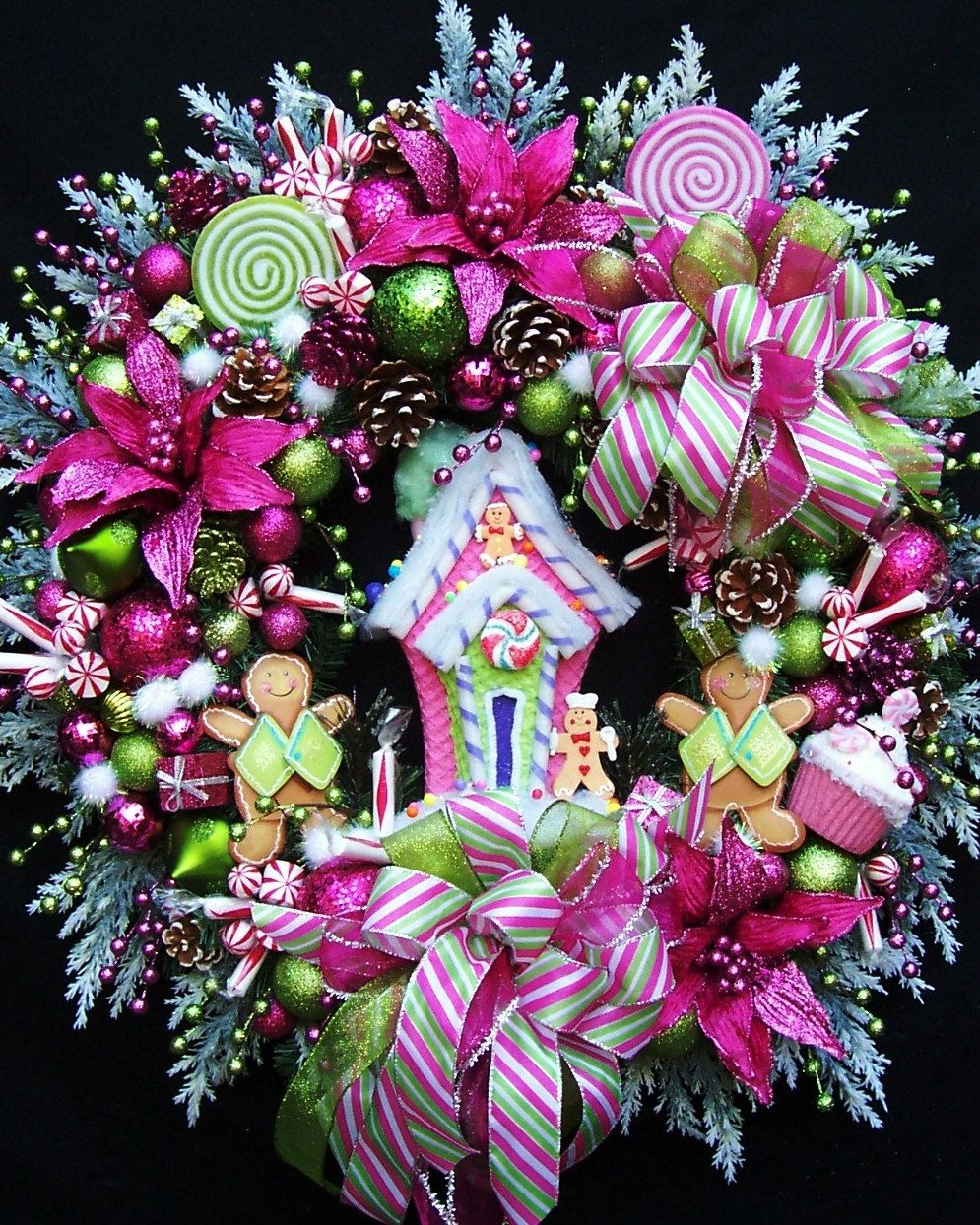 Hot pink christmas decorations - Xl Christmas Gingerbread House Wreath Created In Lime Green And Hot Pink