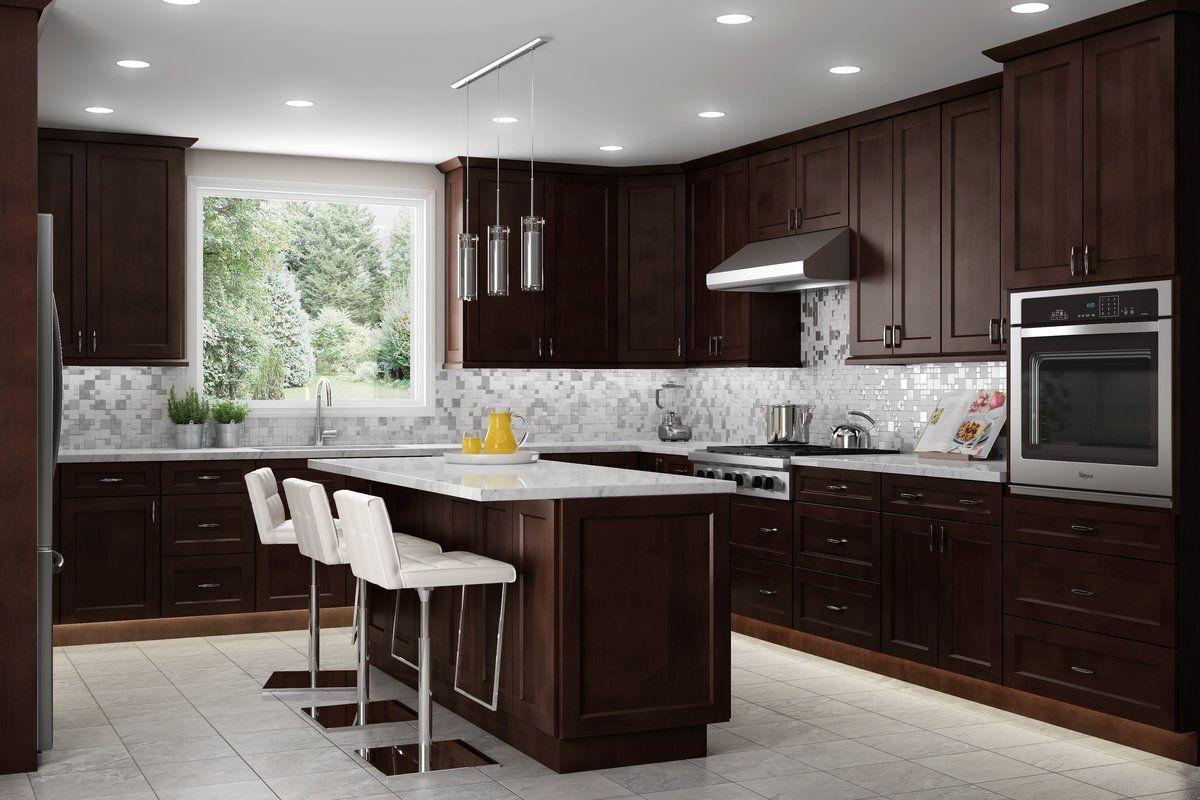 Shaker Espresso 10x10 Kitchen In 2020 Espresso Kitchen Cabinets Brown Kitchen Cabinets Kitchen Cabinet Outlet